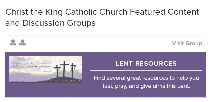 Lent group on FORMED
